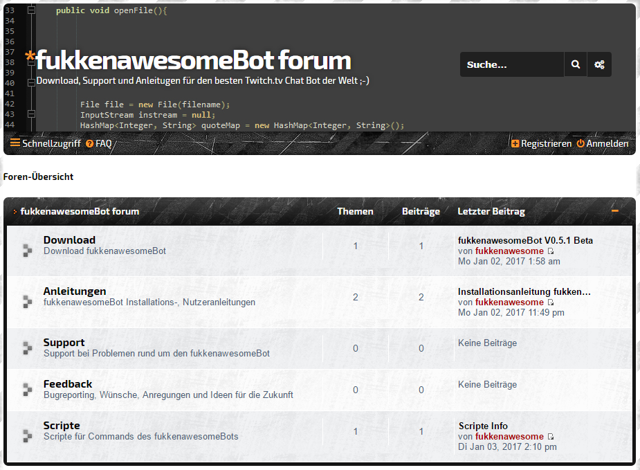 fukkenawesomeBot small, simple, reliable Twitch tv Chat Bot written